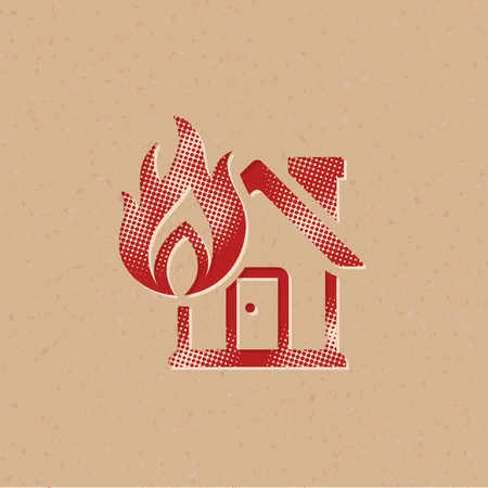 House fire icon in halftone style. Grunge background vector illustration.