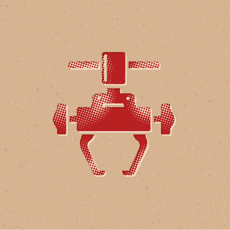 Bicycle tool icon in halftone style. Grunge background vector illustration.