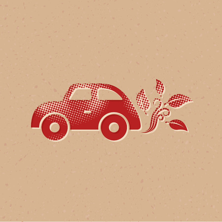Green car icon in halftone style. Grunge background vector illustration.