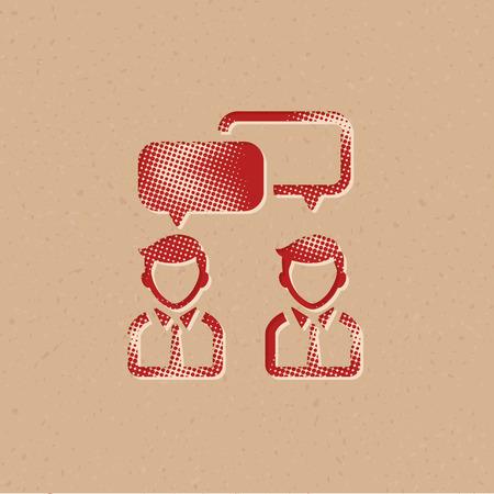 Teamwork icon in halftone style. Grunge background vector illustration. Illustration