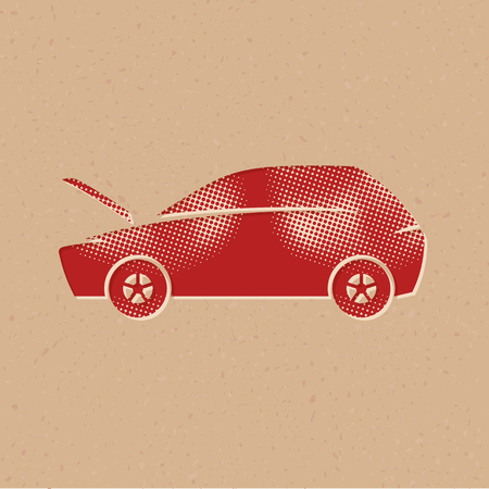Car with hood open icons in halftone style. Automotive vehicle maintenance service. Grunge background vector illustration.