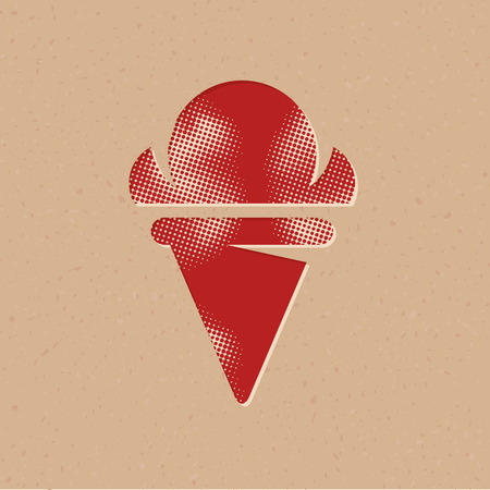 Ice cream icon in halftone style. Grunge background vector illustration. Иллюстрация