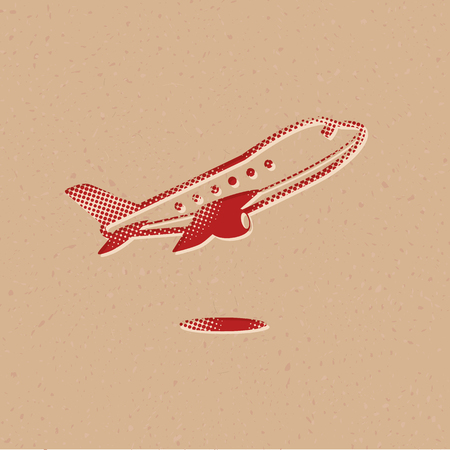 Airplane icon in halftone style. Grunge background vector illustration.