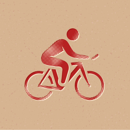 Cycling icon in halftone style. Grunge background vector illustration.