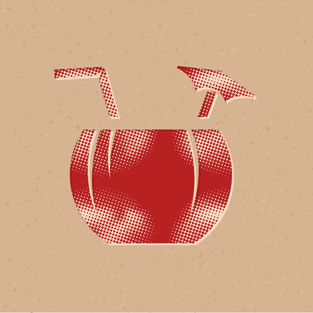 Coconut drink icon in halftone style. Grunge background vector illustration.