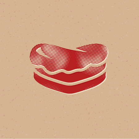 Cake icon in halftone style. Grunge background vector illustration. Vettoriali