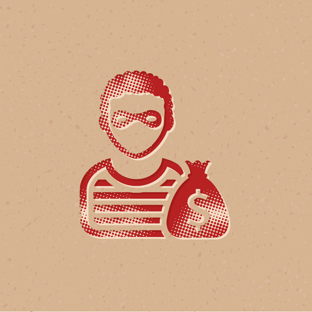 Burglar icon in halftone style. Grunge background vector illustration.