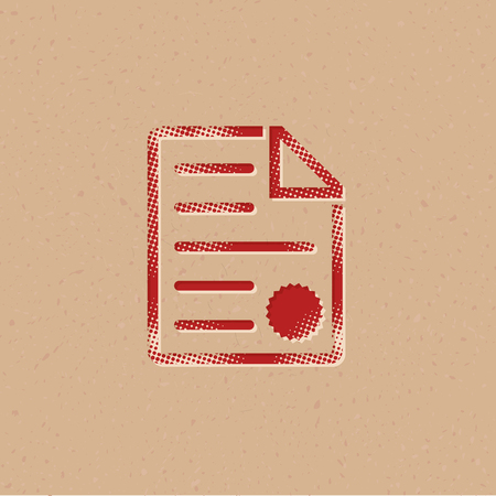 Contract document icon in halftone style. Grunge background vector illustration.