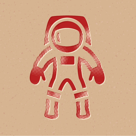Astronaut icon in halftone style. Grunge background vector illustration.