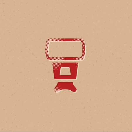 Camera flash icon in halftone style. Grunge background vector illustration.