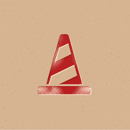 Traffic cone icon in halftone style. Grunge background vector illustration. Stock Illustratie