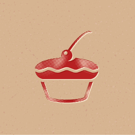 Cake icon in halftone style. Grunge background vector illustration.