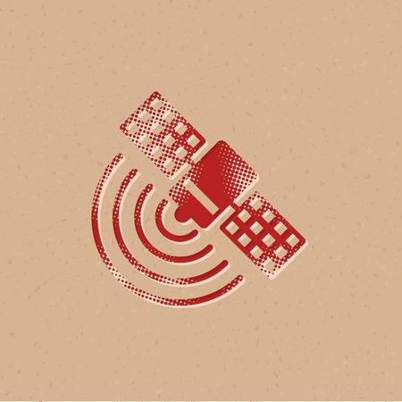 Satellite receiver icon in halftone style. Grunge background vector illustration.