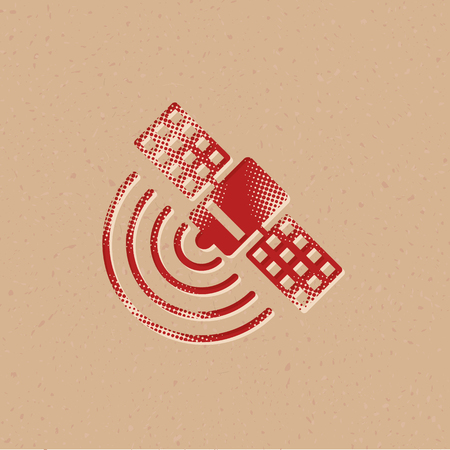 Satellite receiver icon in halftone style. Grunge background vector illustration.