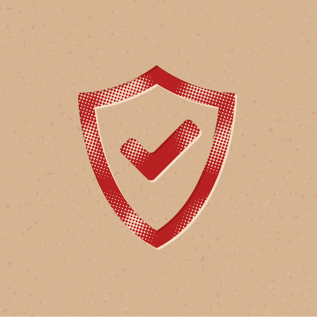 Shield icon with checkmark in halftone style. Grunge background vector illustration.