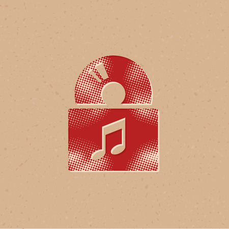 Icono de álbum de música en estilo de semitono. Ilustración de vector de fondo grunge. Ilustración de vector