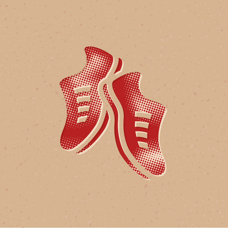 Shoes icon in halftone style. Grunge background vector illustration.