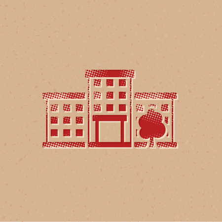Building icon in halftone style. Grunge background vector illustration. Illustration