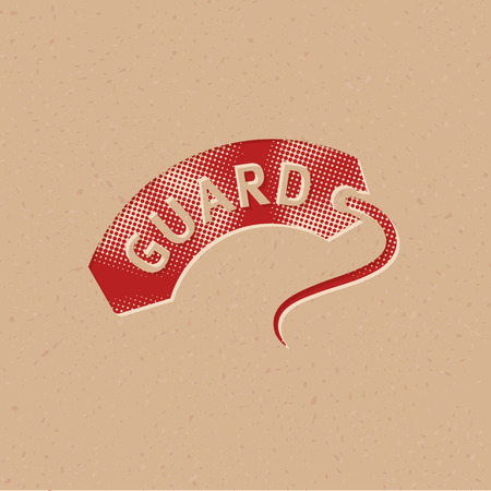 Rescue tube icon in halftone style. Grunge background vector illustration. Ilustração