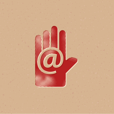Get in touch icon in halftone style. Grunge background vector illustration.
