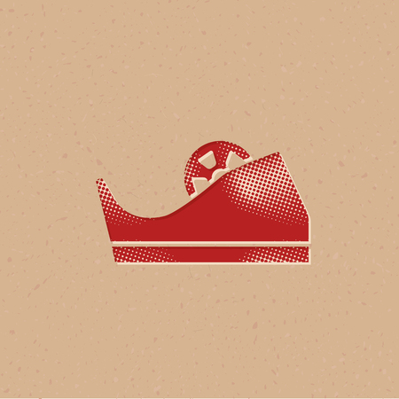 Tape dispenser icon in halftone style. Grunge background vector illustration.