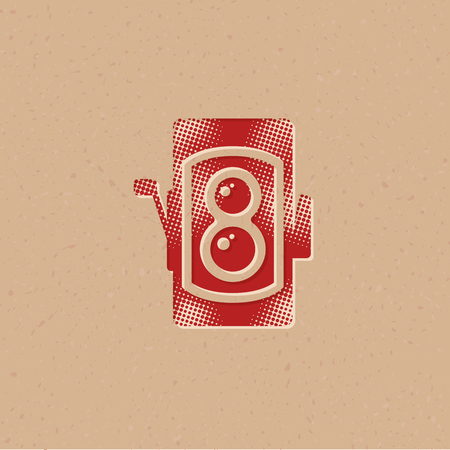 Twin lens reflex camera icon in halftone style. Grunge background vector illustration. Ilustração