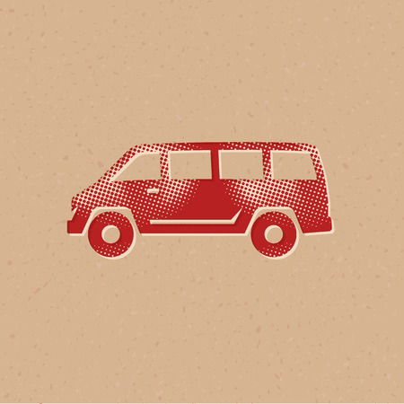 Car icon in halftone style. Grunge background vector illustration. 일러스트