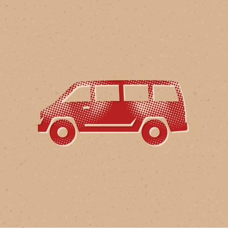 Car icon in halftone style. Grunge background vector illustration. Illustration