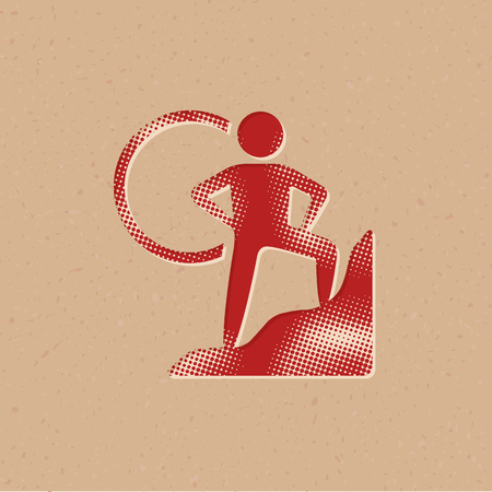 Rock climbing icon in halftone style. Grunge background vector illustration.