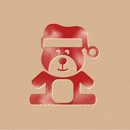 Teddy holding heart shape icon in halftone style. Grunge background vector illustration.