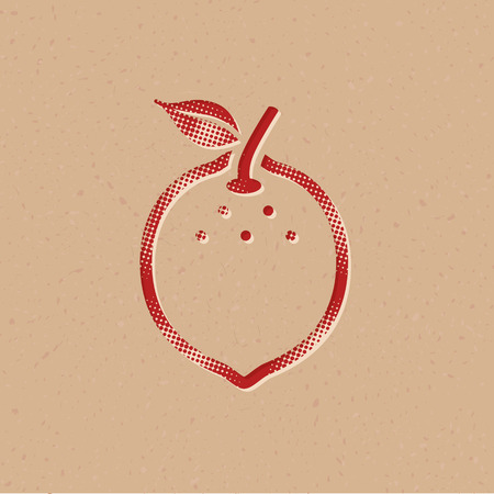 Lemon icon in halftone style. Grunge background vector illustration.
