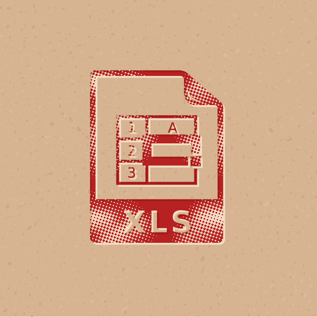 Spreadsheet file icon in halftone style. Grunge background vector illustration.