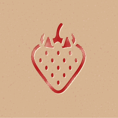 Strawberry icon in halftone style. Grunge background vector illustration.