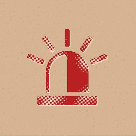 Sirenensymbol im Halbtonstil. Grunge-Hintergrund-Vektor-Illustration.