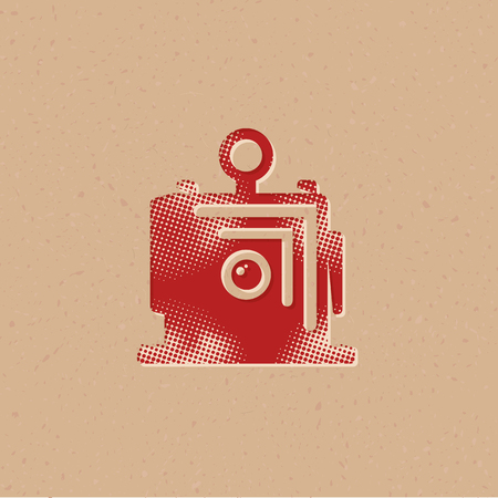 Large format camera icon in halftone style. Grunge background vector illustration.