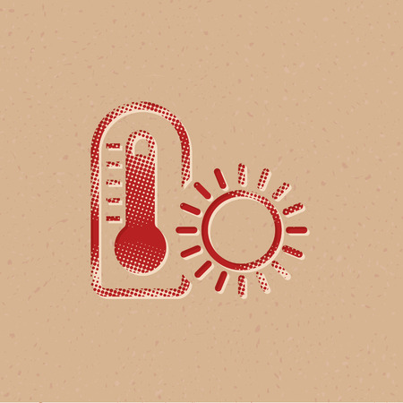 Thermometer icon in halftone style. Grunge background vector illustration.  イラスト・ベクター素材