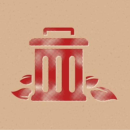 Trash bin icon in halftone style. Grunge background vector illustration. Illusztráció