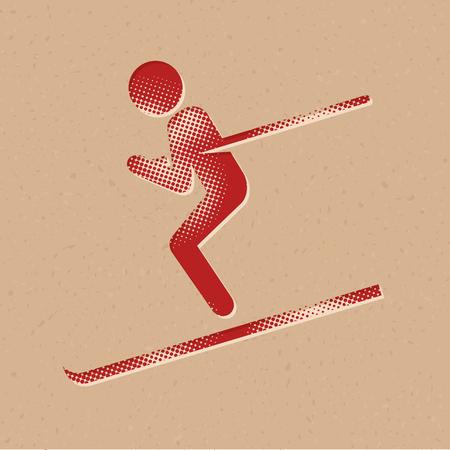 Ski icon in halftone style. Grunge background vector illustration. Illustration