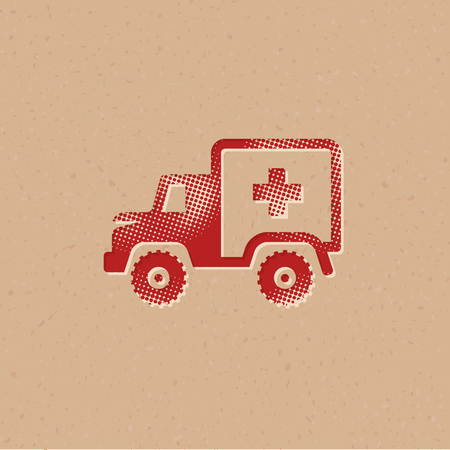 Military ambulance icon in halftone style. Grunge background vector illustration.