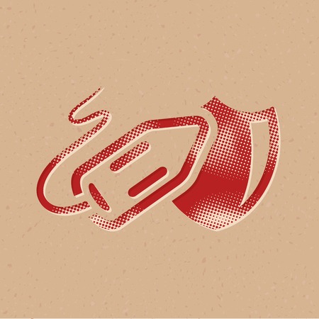 Lifeguard rescue icon in halftone style. Grunge background vector illustration.