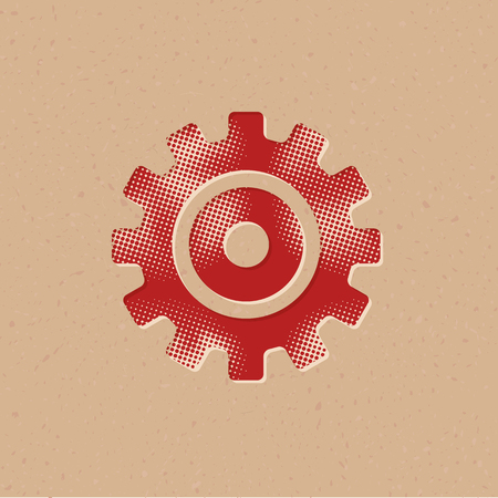 Setting gear icon in halftone style. Grunge background vector illustration. Иллюстрация