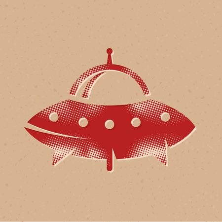 Icono de platillo volador en estilo de semitono. Ilustración de vector de fondo grunge.