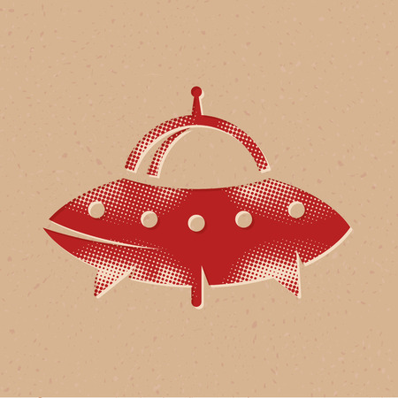 Flying saucer icon in halftone style. Grunge background vector illustration.