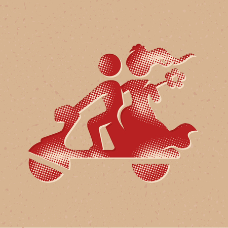 Wedding scooter icon in halftone style. Grunge background vector illustration. Illustration