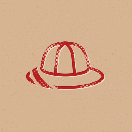 Safari icon icon in halftone style. Grunge background vector illustration.