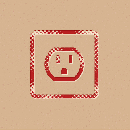 Electrical outlet icon in halftone style. Grunge background vector illustration.