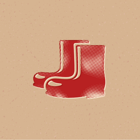 Wet boots icon in halftone style. Grunge background vector illustration.