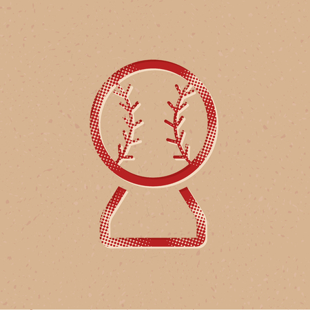 Baseball trophy icon in halftone style. Grunge background vector illustration.