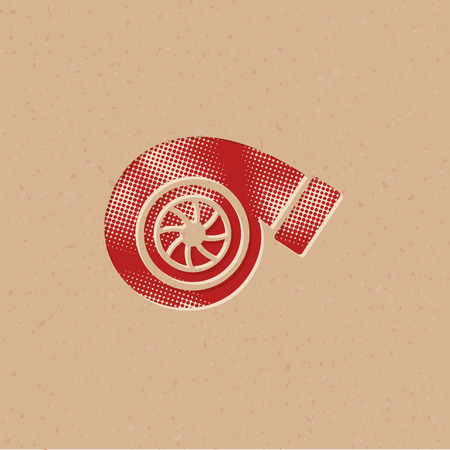Turbo charger icon in halftone style. Grunge background vector illustration.