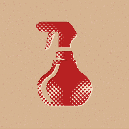 Sprayer bottle icon in halftone style. Grunge background vector illustration.